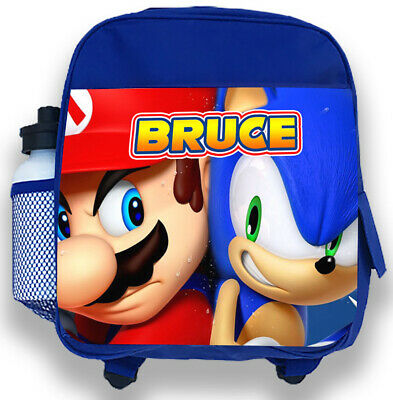 Personalised Kids Blue Backpack Any Name Sonic Mario Boys Childrens School Bag 2 • 14.99£