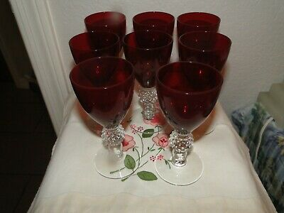 $79.99 • Buy 8 Morgantown Red Golfball Wine Stems, 4.75  Tall, Exc. Cond.