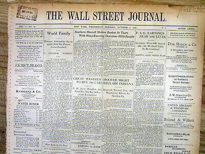 $60 • Buy 1932 Wall Street Journal Newspaper W FINANCIAL COVERAGE Of THE GREAT DEPRESSION