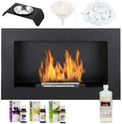 £101.77 • Buy BIO ETHANOL FIREPLACE 650x400 WALL MOUNTED DESIGN ECO FIRE BURNER + ACCESSORIES