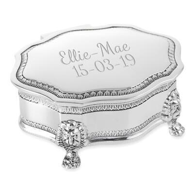 Personalised Silver Plated Art Deco Style Trinket/Jewellery Box - Engraved • 17.80£