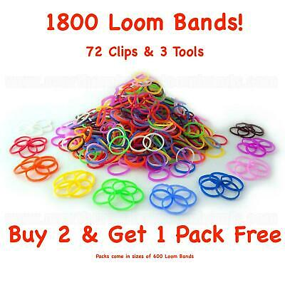 £2.99 • Buy 1800 Loom Bands Assorted Mix Coloured Bands 72 Clips + Tool Arts Craft Kit