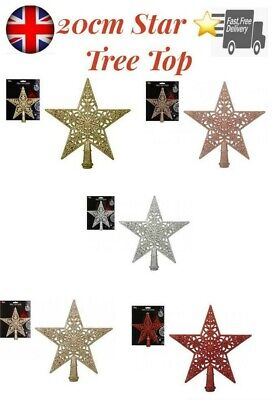 8  Large Glitter Rose Gold Red Silver Star Christmas Tree Top Topper Decoration • 4.99£