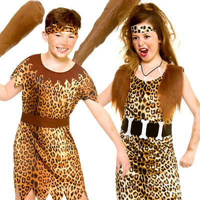 £10.99 • Buy Stone Age Cave Kids Fancy Dress Animal Print Jungle Babarian Childrens Costumes