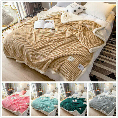 Coral Fleece Throw Blanket Cashmere Sofa Towel Bedspread Solid Bed Cover • 36.50£