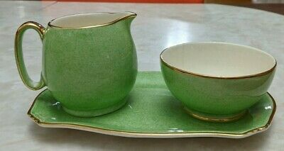 $ CDN50 • Buy Royal Winton Grimwades Green /w Gold Trim Creamer Sugar Bowl (tea Set) 1940s