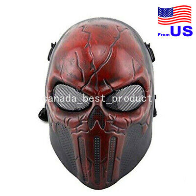 $24.29 • Buy Tactical Military Skull Skeleton Full Face Mask For Halloween Cosplay Red USA