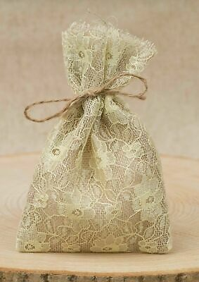 Job Lot Of 250 Wedding Favour Bags Hessian Yellow Lace Lined Shabby Chic Vintage • 160£