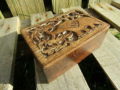 £15.99 • Buy Hand Carved Made Mango Wood Wooden Elephant Jewellery Box Chest Case Holder