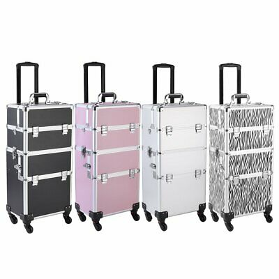3 In 1 Aluminum Rolling Makeup Train Case Professional Beauty Cosmetic Trolley • 85.93$