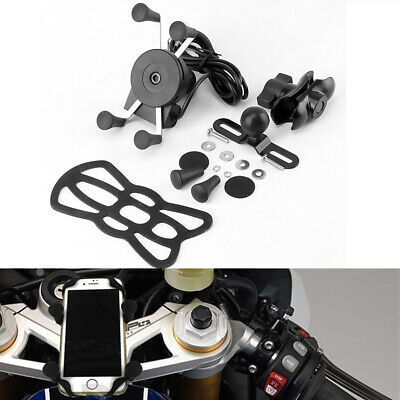 AU42.99 • Buy X Grip Mount With USB Charge Mobile Phone Holder For Motorcycle Bike Universal