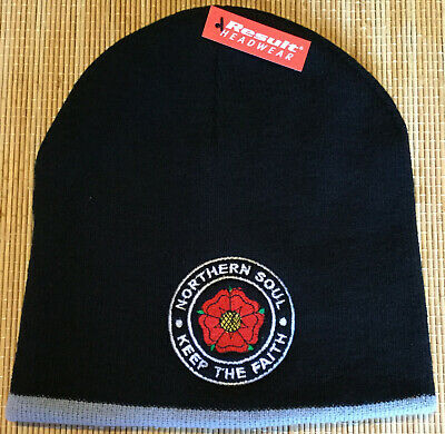Mods Northern Soul Ktf Lancashire Rose Embroider Not Patch 2 Tone Mod Beanie Hat • 7.99£