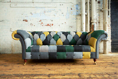 £1195 • Buy Handmade Unique 3 Seater Grey, Green & Mustard Wool Patchwork Chesterfield Sofa