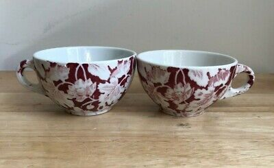 $16 • Buy 2 MAYER CHINA ARBOR RED Vintage Red White Leaf Cups - VGUC