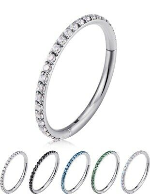 AU6.98 • Buy Sleek Titanium Round Crystal Studded Hinged Hoop Earrings Piercings Huggie G23