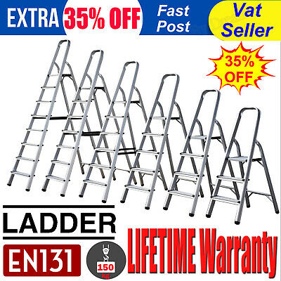 Aluminium Step Ladder 3 4 5 6 7 8 Step Stepladder DIY Tools Lightweight Folding • 8.88£