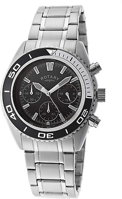 Rotary Men's Quartz Watch With Black Dial Chronograph Display And Silver Stainle • 139£