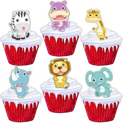 £1.99 • Buy Jungle Animals Stand Up Cup Cake Toppers Edible Birthday Party Decorations
