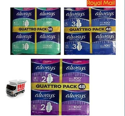 £10.85 • Buy Always Ultra Night Long  Normal Sanitary Towels Pads With Wings Pack Of 40 48 56