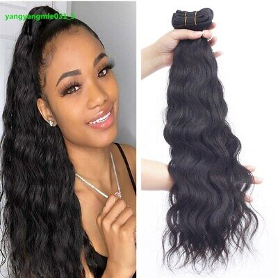 £13.16 • Buy 150G/3 Bundles Natural Wave Human Hair Weft Hair Extensions Remy Peruvian Weave