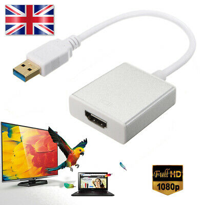 USB 3.0 To HDMI HD 1080P Video Cable Adapter Converter For PC Laptop HD TV UK • 7.99£
