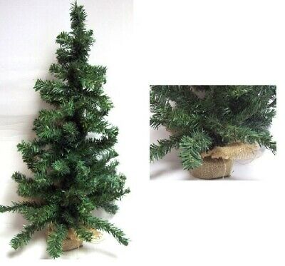 Mini Table Top Centerpiece Artificial Christmas Tree With Hessian Base - 60CM • 5.99£