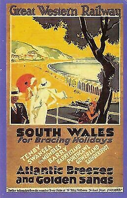 £1.99 • Buy Nostalgia Postcard 1920s GWR Railway Poster, Sunny South Wales, Repro Card NS6