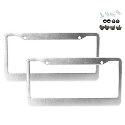 $7.35 • Buy 2pcs Stainless Steel Metal Silver License Plate Frame Tag Cover Screw Caps New