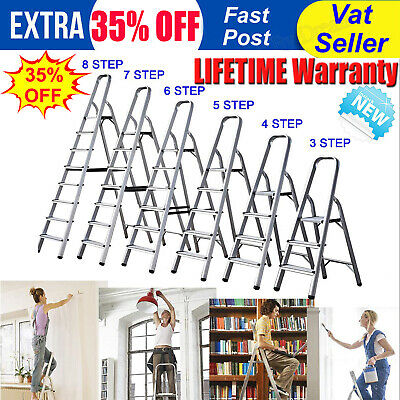 Aluminium Step Ladder 3 4 5 6 7 8 Step Stepladder DIY Tools Lightweight Platform • 8.88£