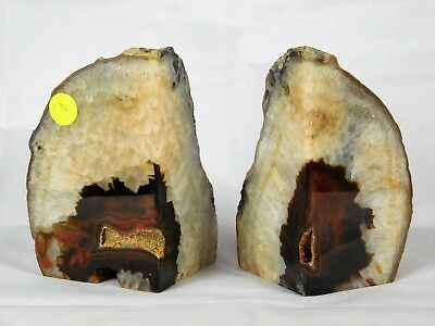 £35.96 • Buy AB134) Brown Agate Quartz Crystal Bookends - House Office Gift  Home Decor 2.7KG