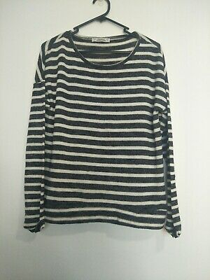 AU12.99 • Buy Pull And Bear Striped Thin Knit Sweater Long Sleeve Top Black Grey And White EUR