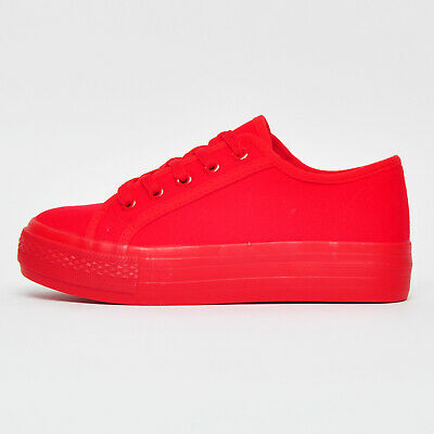 Ex-Highstreet Chainstore Canvas Flatform Wedge Womens Girl Plimsol Trainers Red • 9.99£