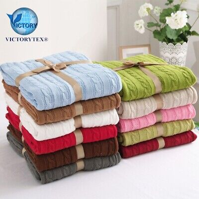 £19.99 • Buy  Cable Knitted Snugly Cosy Throw Blanket For Beds Sofa Armchair Prams 120x180cm