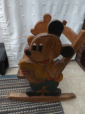 £125 • Buy 1 Off Beautiful Childs Wooden Rocker Chair Disney Mickey Mouse On Either Side