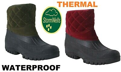 Womens Ladies Thermal Faux Fur Lined Warm Winter Wellies Mucker Ankle Snow Boots • 20.99£