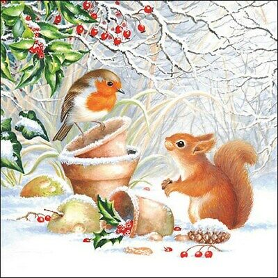 £5.59 • Buy  Full Pack Christmas Winter Robbin Squirrel Paper Napkins For Decoupage,