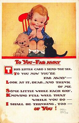 $4.99 • Buy Mabel Lucie Attwell  To You-Far Away  Young Girl Black Cat Postcard