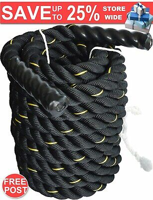 AU109.59 • Buy Battle Rope Dia 3.8cm X 9M Length Poly Exercise Workout Strength Training