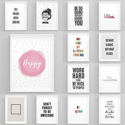 Motivational Posters Framed Quote Prints Inspirational Wall Artwork Home Décor • 6.49£