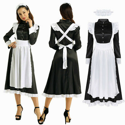 $21.62 • Buy Women Maid Cosplay Costume Dress Babydoll Uniform Apron Outfit Party Dress Up