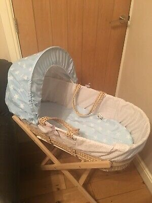 Baby Boy Moses Basket With Bedding And Towels • 10£