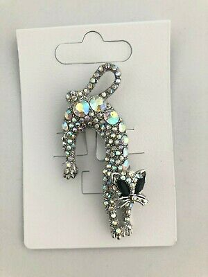 Cute Kitty Cat Brooch Silver Metal With Colour Stone Eyes Gift Pussy *NEW*  • 3.99£
