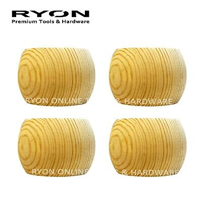 AU25 • Buy 4 X Wooden Timber Round Bun Foot Feet Lounge Sofa Couch Furniture Leg 60 Mm