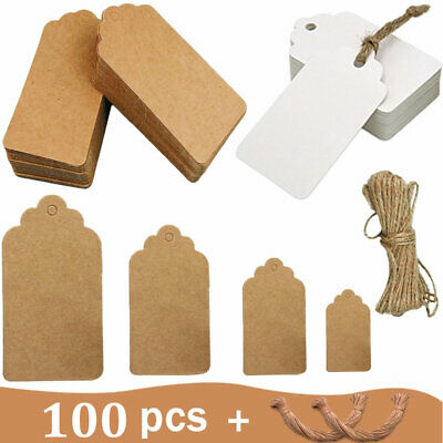 100 Kraft Paper Gift Tags Christmas Wedding Scallop Label Blank Luggage + String • 3.49£