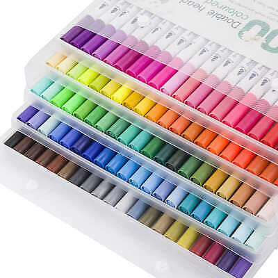 $11.99 • Buy 80Pc Multi Colors Dual Tip Brush Pens Water Markers Art Paint Watercolor Pen Set