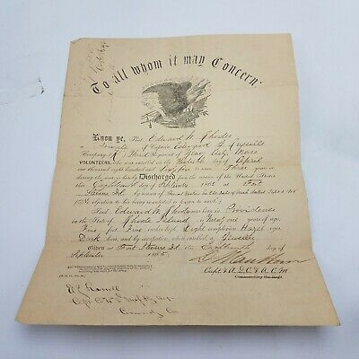 Civil War Union Army Discharge Papers Edward Rhodes 3rd Heavy Art 1865 & Pension • 179.45$