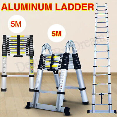 Telescopic Loft Ladder 3M-5M Extendable Collapsible Step Ladders Securing-Cheap • 62.60£