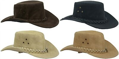 £19.95 • Buy Australian Western Style Real Leather Bush Cowboy Hat Removable Chin Strap UK