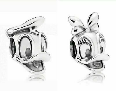 Donald Duck & Daisy Duck Disney Silver Plated Charm Fits European Charm Bracelet • 2.80£