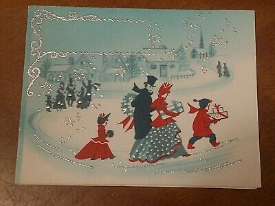 $ CDN8.75 • Buy Vintage Embossed Christmas Card 1946 Midcentury Family Snowy Trail USA